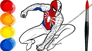 How to draw SPIDER-MAN Drawing and Coloring Pages for Kids | Tim Tim TV