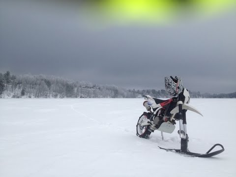 SuperMoToolz: DAY 4 SnowMoto Learning How to Get it Up ( Dirt bike Supermoto Snowmobile)