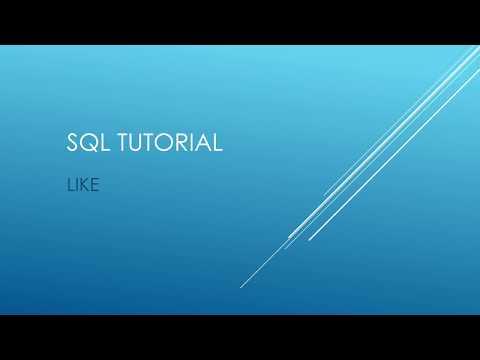 SQL Tutorial - LIKE