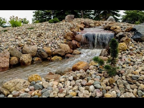 Building a backyard waterfall time lapse