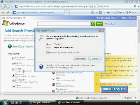 Windows Vista - How to change default search provider on internet explorer 7