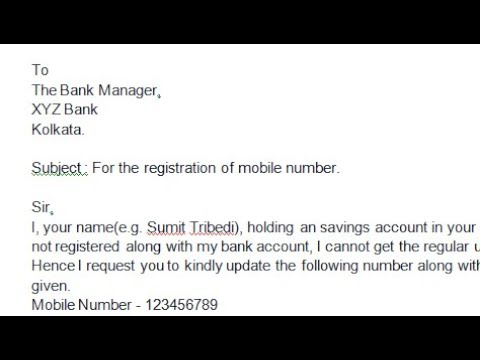 How to write application to bank manager to Register Mobile Number ? || Simplified in Hindi