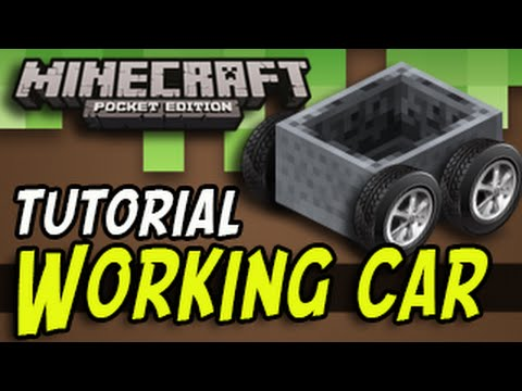 Minecraft Pocket Edition - Working Car (TUTORIAL)