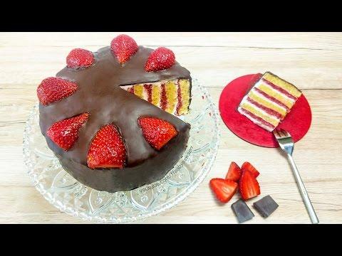 Strawberry & Chocolate Vertical Layer Cake - tutorial & recipe (vegan)