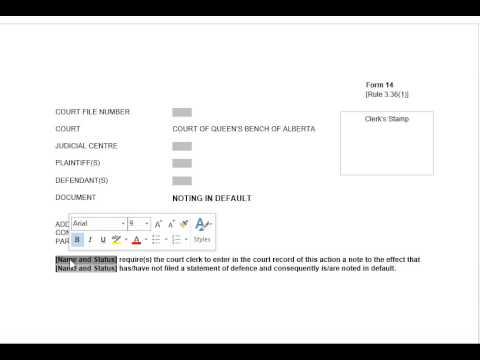 Noting in Default - Alberta Divorce Court Forms