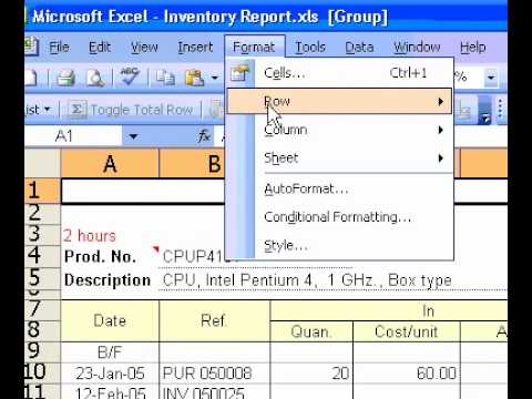 Microsoft Office Excel 2003 Define the default column width