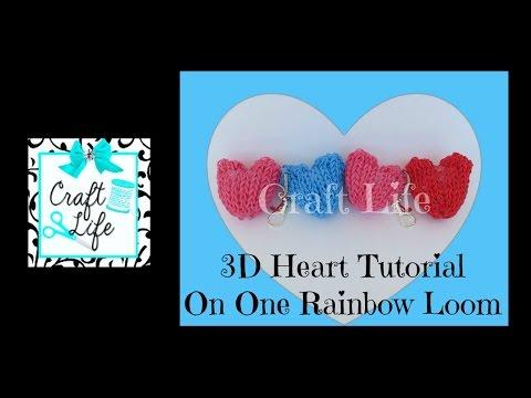Craft Life 3D Heart Charm Tutorial on One Rainbow Loom