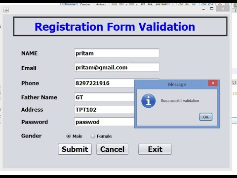 Registration Form Validation In java Netbeans with Regular Expression