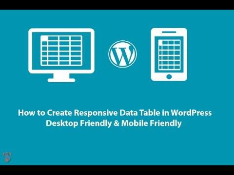 How to Create Responsive Data Table in Wordpress Desktop Friendly & Mobile Friendly