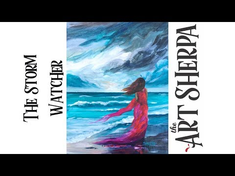 Easy Step by step Acrylic tutorial  on Canvas Girl Walking Stormy Beach #playlive