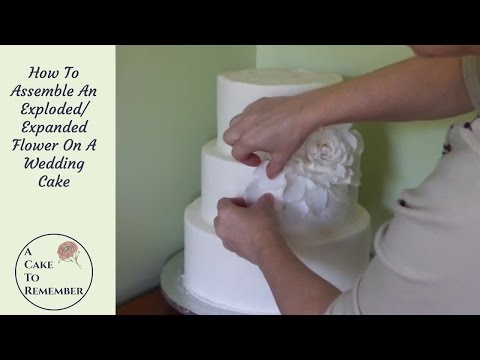 How To Assemble A Giant Flower/ Expanded Flower On A Cake. Giant rose on wedding cake tutorial.
