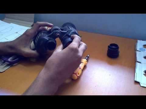 Acquire lens for Google Cardboard V.R using binoculars.