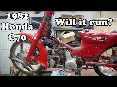 1982 Honda C70.  Starting for the first time.