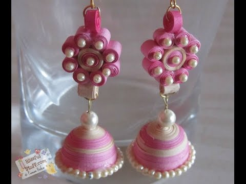 DIY- How to make Paper Quilled Jhumka, paper quilling earring tutorial