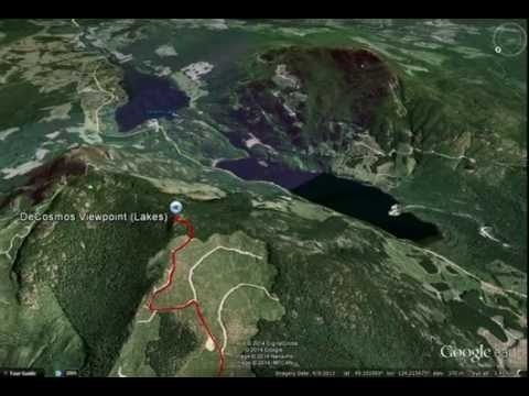 Google Earth Flyover of the Route to Mt. DeCosmos' Second Peak, Nanaimo Lakes Area, BC, Canada