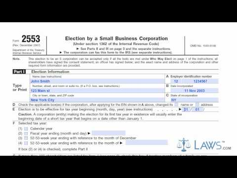 Learn How to Fill the Form 2553 Election by a Small Business Corporation