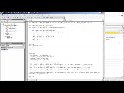Send Personalized Mass E Mail to Distrubiton List with Outlook and Excel (Video 3 of 4)