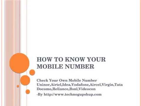 Check Your Own Mobile Number Uninor,Airtel,Idea,Vodafone,Aircel,Virgin,Tata Docomo