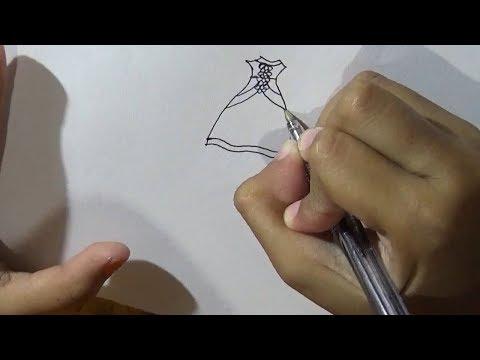 Menggambar Desain Baju Wanita Atau Perempuan