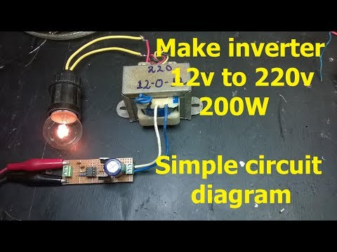 Make inverter 12v to 220v 200W, Simple circuit diagram,  use IC 555