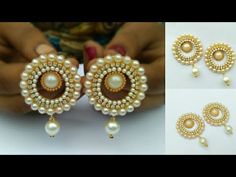 How To Make Designer Pearl Earrings // How To Make Paper Earrings // Paper Jewellery Making //DIY
