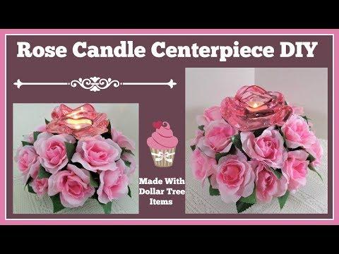 Rose Candle Centerpiece 🌸 Easy Dollar Tree DIY