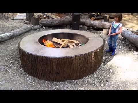 Tree Bark concrete firepit stamp mold