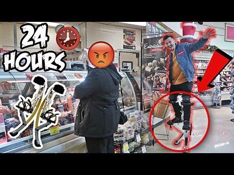 24 HOUR ROBOT LEGS CHALLENGE!! (BIONIC JUMPING STILTS IN PUBLIC)