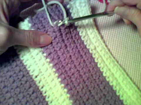 How to Crochet:  Writing on Single Crochet Fabric with Slip Stitches