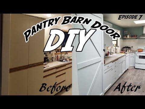 How to Build a Pantry Door   How to a Build Barn Door   DIY Farmhouse kitchen   Refacing Pantry Door