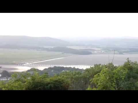 Panorama from Arnside Knott hill NT Cumbria Lake District England UK