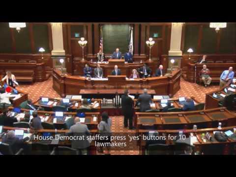 Legislative staffers vote on behalf of absent Democratic representatives