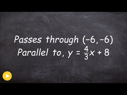 Find the equation of a line parallel using slope intercept