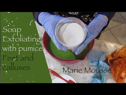 Making of Exfoliating soap with pumice