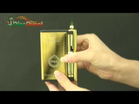 2 in 1 Cigarette Case Holder with Lighter Gold - dinodirect