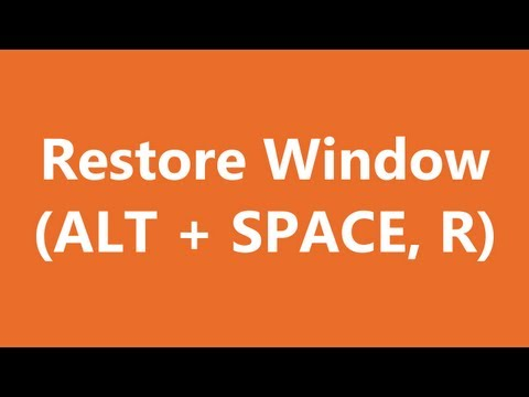 Excel Shortcuts - Restore Window