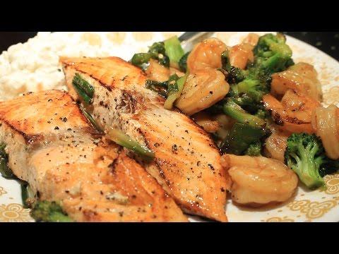 Best Spicy Salmon Shrimp & Broccoli Easy ~ One Pan Dish