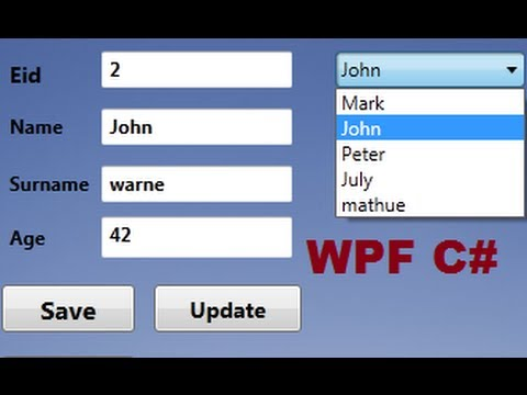 C# WPF Tutorial 16- Database values in textbox if select Combobox