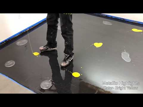 Black, Titanium, and Bright Yellow Metallic Epoxy Floor