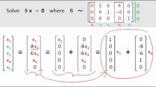 Solving homogeneous equations: Ax = 0; Putting answer in ...