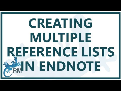 Endnote: creating multiple reference lists in one Word document