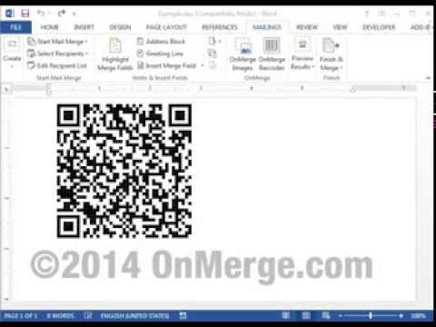 Mail Merging QR Code Contact Information vCards with Word