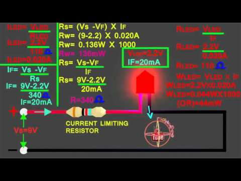 LED 9v circuit calculation, how to calculate led series resistor watts,volt,amps,resistance