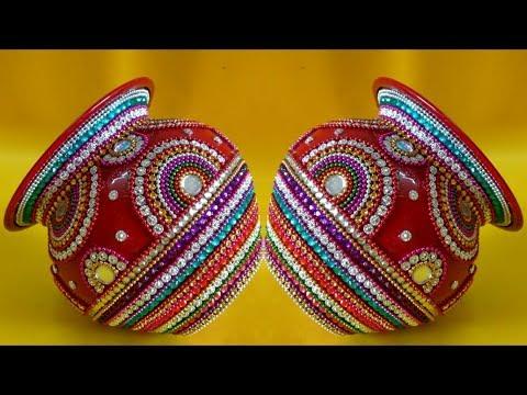 DIY   Kalash Decoration for Diwali/Navratri Pooja   Kalash for Wedding   Matki decoration