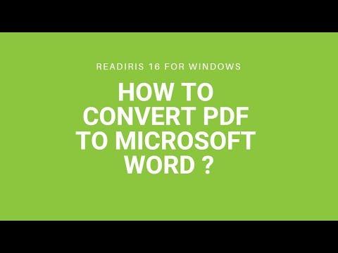 Convert PDF to Microsoft Word using Readiris 16 for Windows