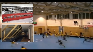 Roof falling during a floorball game (https://en.wikipedia.org/wiki/Floorball) in Ceska Trebova (Czech Republic, Europe). All players and staff are supposedly fine. Sports hall was opened a few weeks ago.