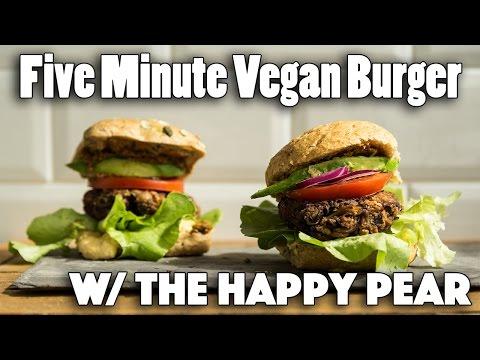 FIVE MINUTE VEGAN BURGER RECIPE | Ft. The Happy Pear