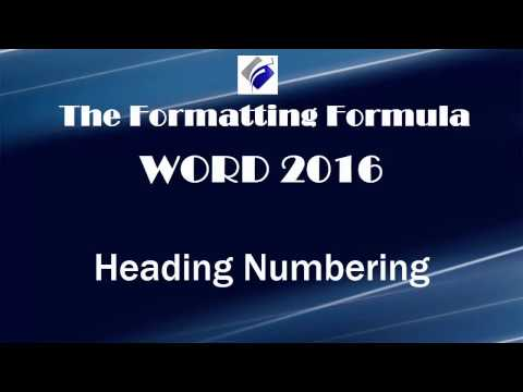 Word 2016   Heading Numbering