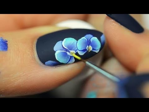 Nail art orchid One Stroke
