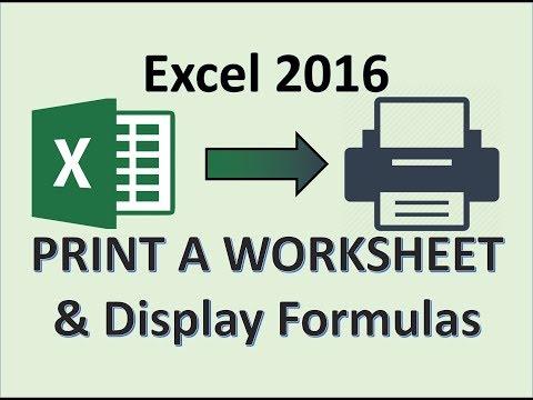 Excel 2016 - Print a Worksheet, Display Formulas, and Close Excel